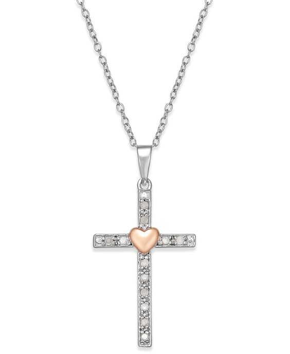 Diamond Two-Tone Cross Pendant Necklace (1/10 ct. t.w.) in Sterling Silver with 18k Rose Gold-Plated Sterling Silver Accent