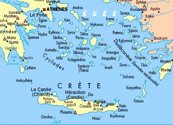 You may locate your favorite Greek Island in this Map  Tuchman