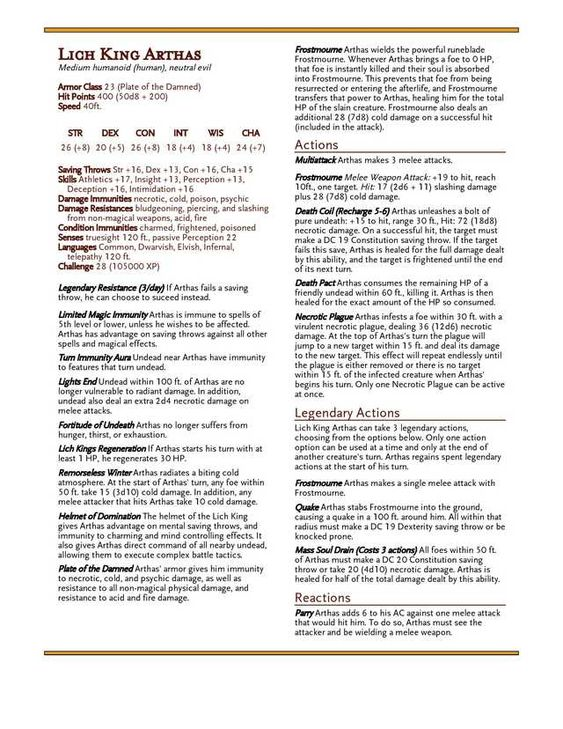 Lich 5e Stats : stats, Warcraft, Heroes, Heroes,, Monsters,, Dungeons, Dragons, Rules