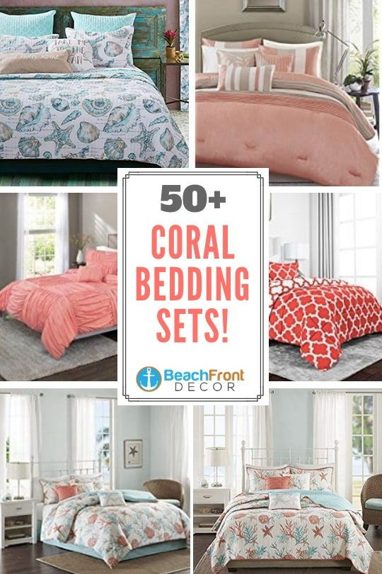 50 Coral Bedding Sets Discover The Best Coral Bedding Sets Coral Comforters And Coral Duvet Covers Fo Coral Bedding Coral Bedding Sets Coastal Bedding Sets