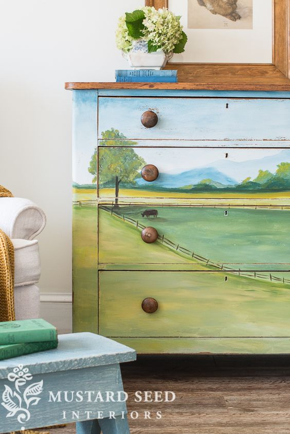 landscape dresser no. 4 reveal - Miss Mustard Seed paintwork distressed just around edges and knobs