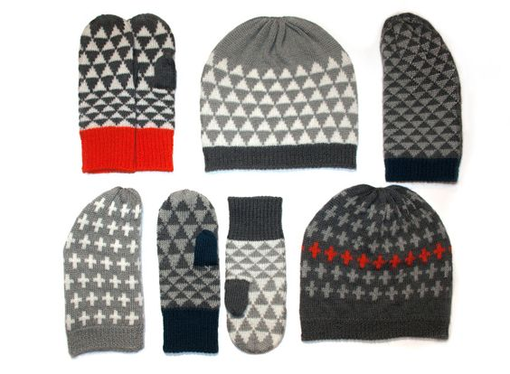 Hand dyed British wool hats and mittens by Bronwen Campbell-Golding