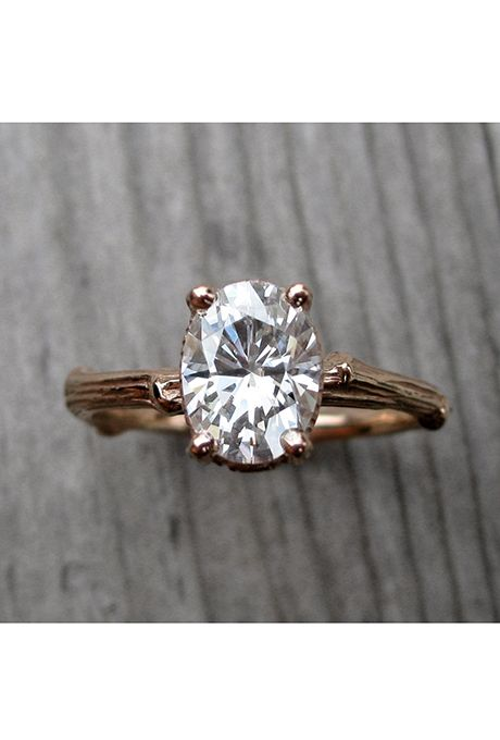 Brides.com: . Forever Brilliant moissanite oval twig engagement ring, price upon request, Kristin Coffin