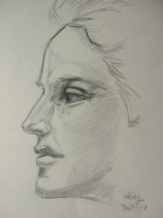 """""""Rosto"""" (2) - Desenho a grafite baseado em esboço a lápis de John Singer Sargen (malay - 30/9/ 2014)"""