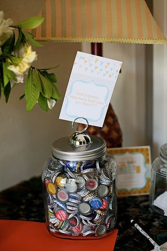 COUNT THE BEER BOTTLE CAPS.  Baby shower idea! Just a peek at my beautiful baby shower hosted by my sis @Leslie Green photo by @Kelly Noel#baby shower