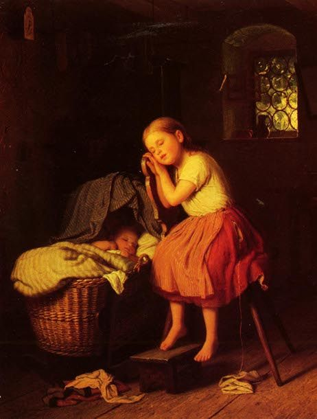 Johann Georg Meyer von Bremen (1813 – 1886) German  Siesta  her knitting is on the floor, the yarn in her pocket!