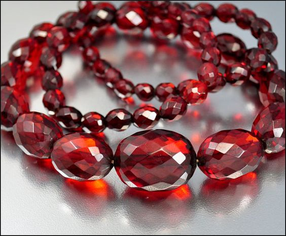 Cherry Amber Faceted Bead Graduated Long Deco Necklace