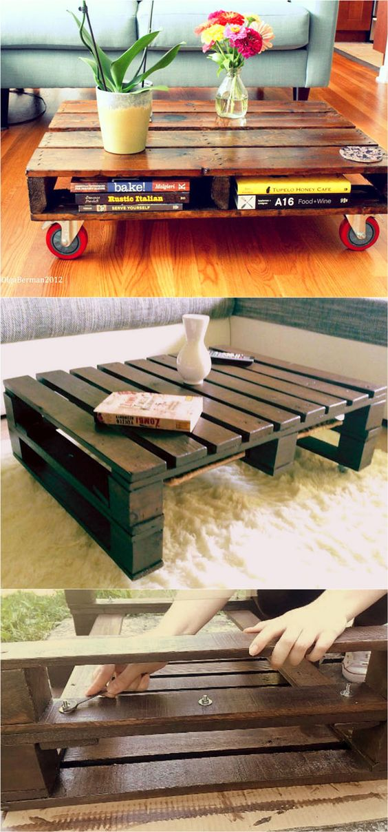 12 Easy Pallet Coffee Tables to DIY in One Afternoon - love this one with red casters!!: