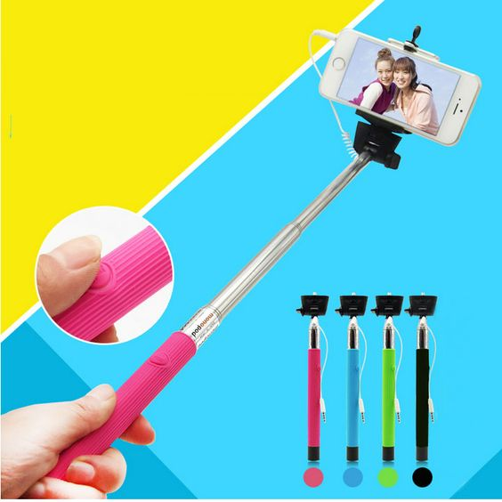 Wired Selfie Sticks Handheld Monopod Built-in Shutter Extendable +Mount Holder Photo For iPhone Samsung Smartphone Camera Instanations.com #instafashion #instagood #instanations #selfie #selfies #selfiestick