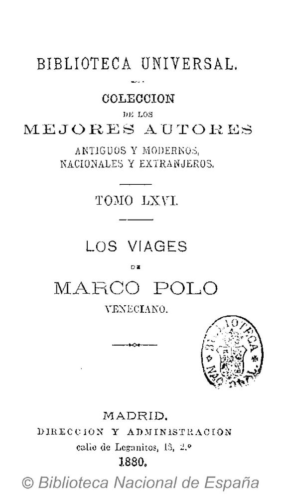 Los viages de Marco Polo, veneciano. Polo, Marco 1254-1324 — Libro — 1880