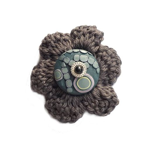 One of a kind brooch  polymer clay and crochet flower by Chifonie, €11.00