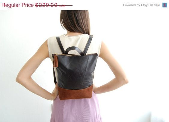ON SALE Brown leather backpack brown leather by Albertinaboutique