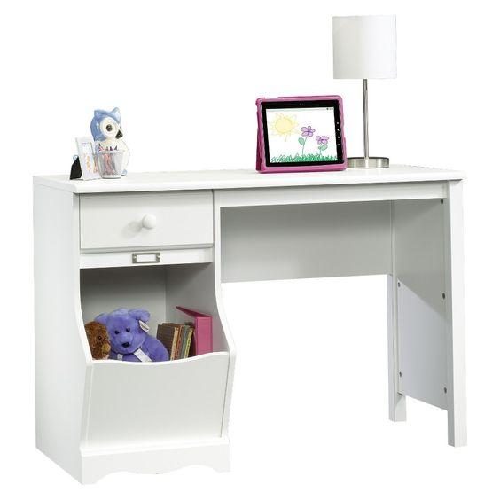 Pogo Desk with Easy Glide Drawer and Storage Bin - Soft White - Sauder