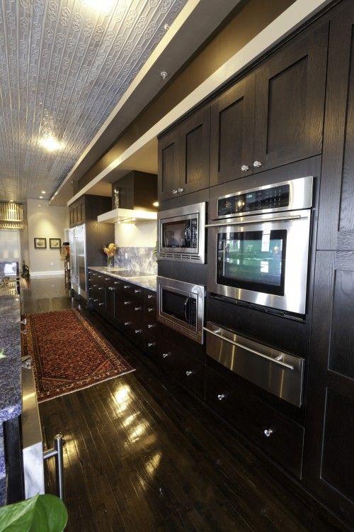 Upscale modern galley kitchen kitchens pinterest for Galley kitchen refrigerator