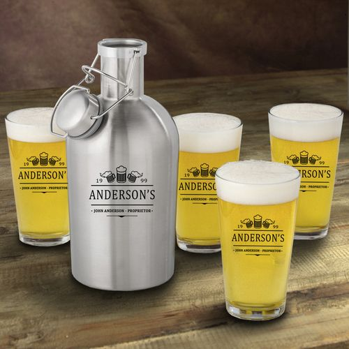 Stainless Steel 3 Beers Growler with Pint Glass Set