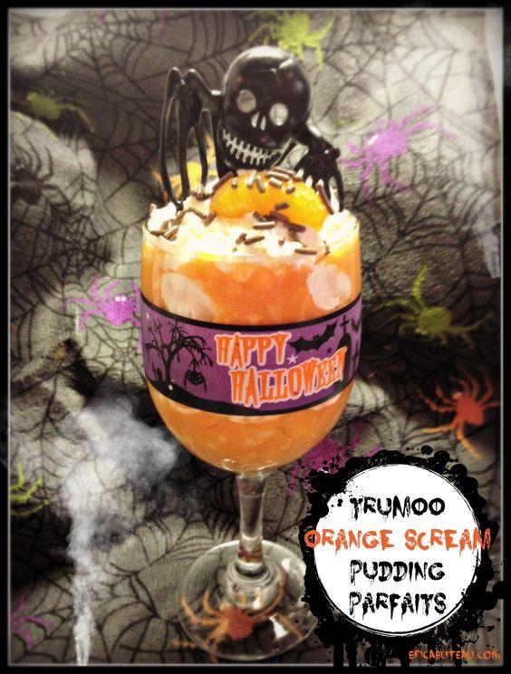 TruMoo orange scream halloween pudding parfaits