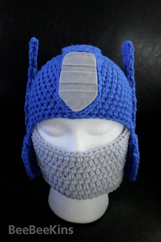Crochet Pattern For Optimus Prime Hat : Optimus Prime Hat... thought of you, @Valerie M Dahan ...