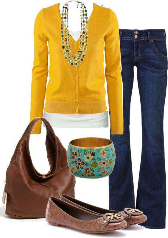 mustard sweater, marco bicego jewelry, white tank, jeans, tan tory ...
