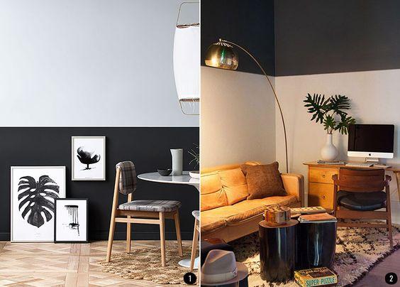 Pintar el salón en dos colores aporta personalidad y carácter a esa estancia. | conkansei.com