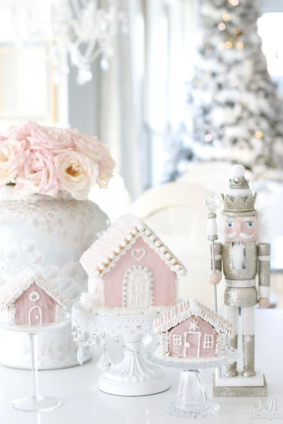 My Pink Christmas Kitchen #pinkchristmas #gingerbread #gingerbreadhouse #ilovepink #winterwonderland