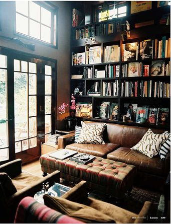 Dark painted book shelf is great. I want to live in this room!