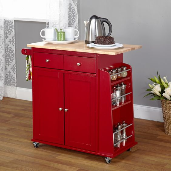 decoration impressive red kitchen island on wheels with oak wood  countertops also small chrome cabinet knobs
