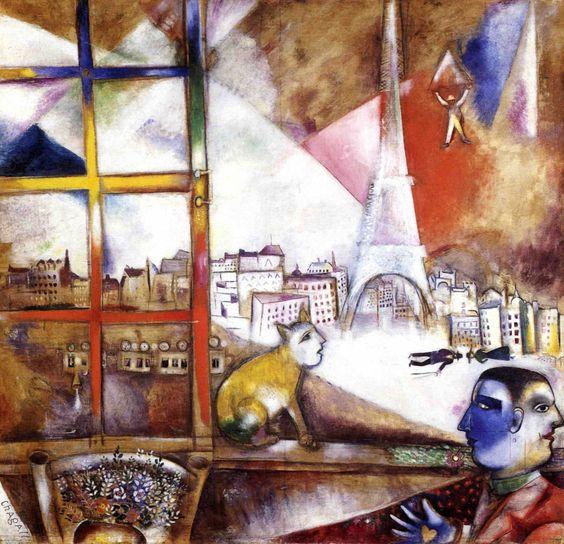 Marc chagall paris par la fen tre 1913 huile sur toile for Histoire de la fenetre