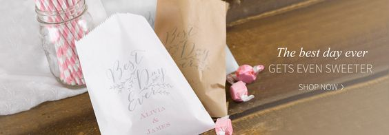 "Rustic Vines Treat Bags Send treats home with guests in rustic style with kraft favor bags printed with gray vine and ""Best Day Ever"" design. Personalize the bags for a unique touch. www.bluediamond.carlsoncraft.com"