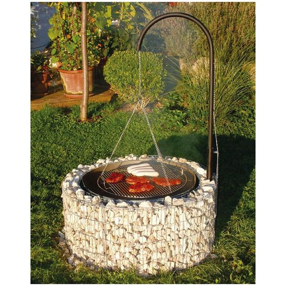 barbecue gabion circulaire histoire de jardin barbecue. Black Bedroom Furniture Sets. Home Design Ideas