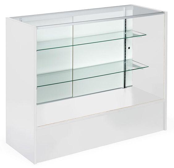 4' Retail Counter w/ White Finish, Tempered Glass Adjustable Shelves & Sliding Doors