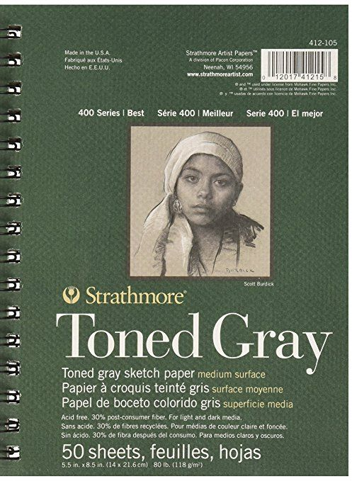 Pro-Art Strathmore toned Sketch Spiral Paper Pad 5.5-inch x 8.5-inch