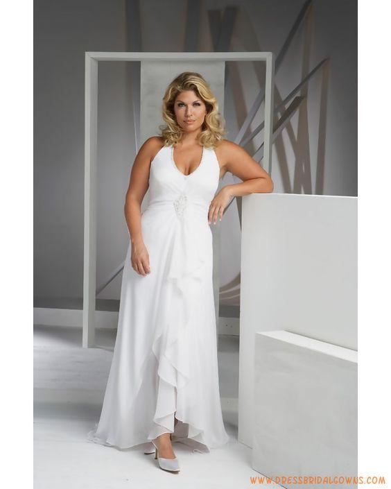 Plus size casual wedding dresses elegant simple halter v for Wedding dresses for casual second weddings