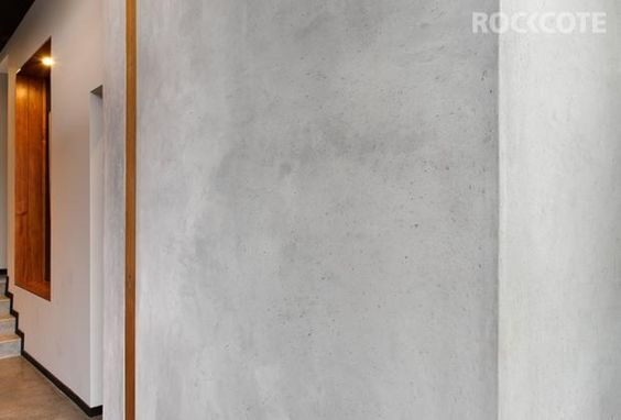 Concrete Look Marrakesh Wall Flows From Exterior To Interior Wall Exterior Interior Rendering Feature Wall
