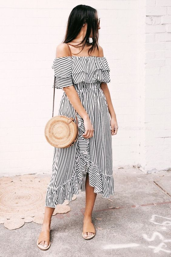 striped off-the-shoulder ruffled skirt dress summer ootd