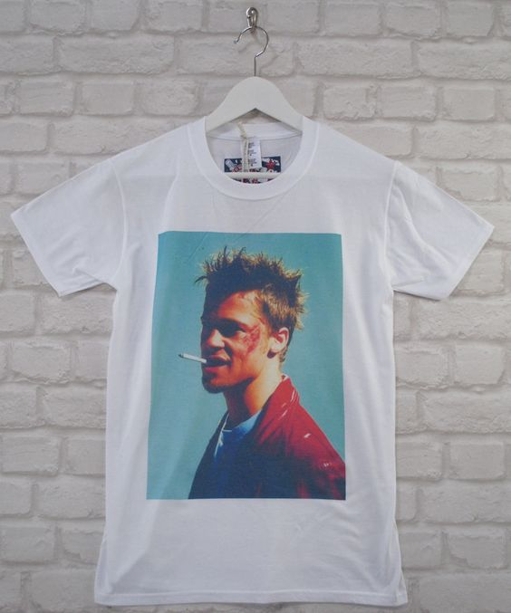 Uptown Classics Fight Club Brad Pitt Cult Film White Crew T-shirt X-Large