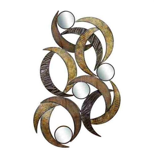 METAL MIRROR WALL PLAQUE BEAUTIFULLY SCULPTURED 24 in HIGH