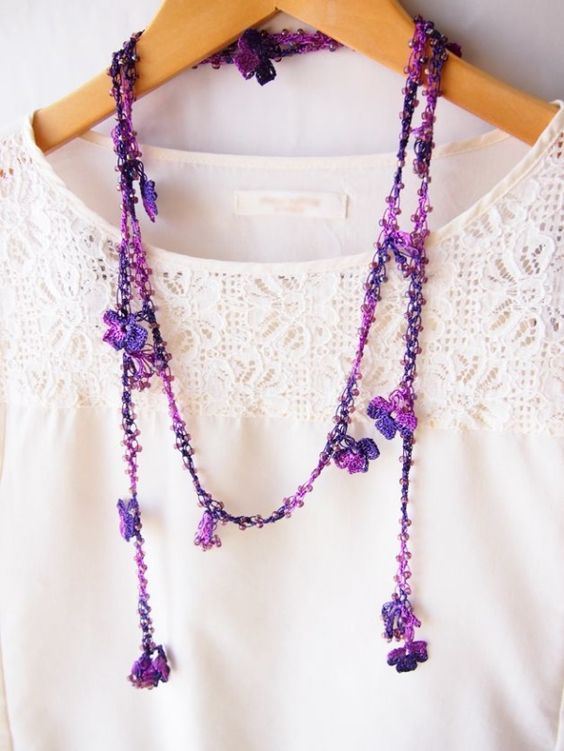 oya crochet lariat necklace by kathie