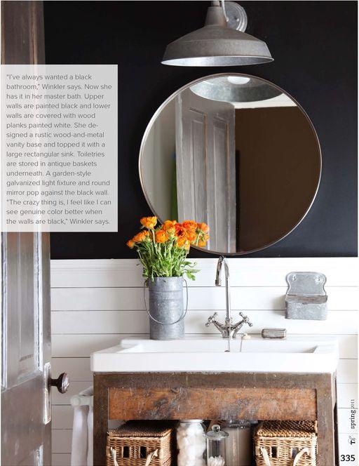 Modern Farmhouse Bathroom.: Powder Room, White Tile, Round Mirror, Black Bathroom, Half Bath, Rustic Bathroom, Bathroom Idea, Light Fixture, Dark Wall