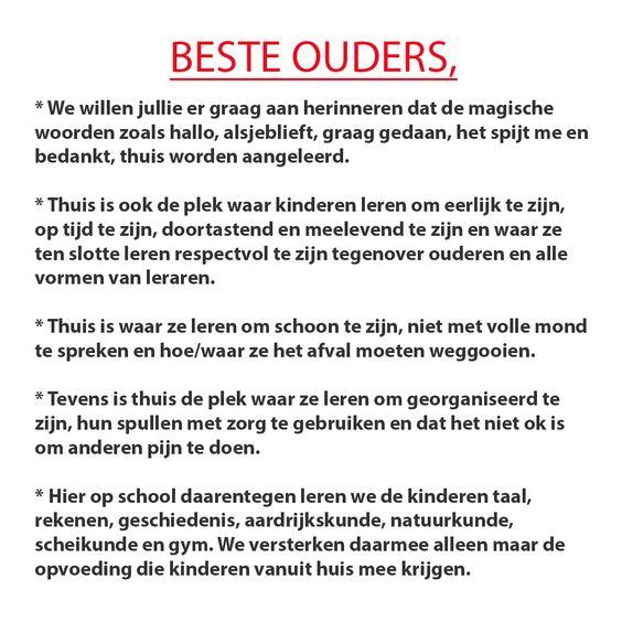 School wil dat ouders verantwoordelijkheid nemen - nu gaat de poster viraal: