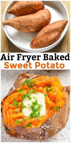 Our Air Fryer Baked Sweet Potato recipe results in a sweet potato baked to perfection. Quick and easy side dish recipe. via @CourtneysSweets