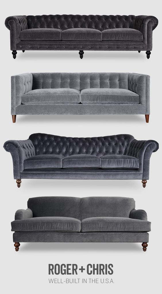 Grey velvet sofas, gray velvet couches, tufted grey velvet, grey velvet Chesterfield, grey sofa from Roger and Chris   Find grey velvet and many other velvet colors on rogerandchris.com   #rogerandchris