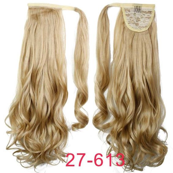 22 Synthetic Hair Long Wavy Clip In Ribbon Ponytail Hair Extensions