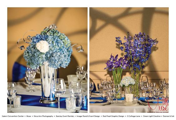 Designs created by Muse (http://www.designsbymuse.com) and designed exclusively for The  Salem Convention Center,  in collaboration with Erica Ann Photography, Barclay Event Rentals, Greenlight Creative, Image Floral & Event Design, Danner & Soli, Red Pearl Graphic Design, and 3 Cottage Lane