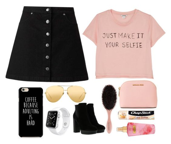 """Mini skirt"" by zaicute on Polyvore featuring beauty, Monki, Miss Selfridge, Linda Farrow, Apple, Hogan, MICHAEL Michael Kors, Chapstick and Victoria's Secret"