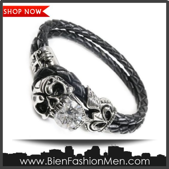 Mens Bold Bracelets | Mens Bracelets | Mens Bracelet | Mens Jewelry | Mens Accessories | Bracelets on Men | Mens Jewelery | Shop Now ♦ Stainless Steel Skull Cubic Zirconia Leather Bracelet 8""