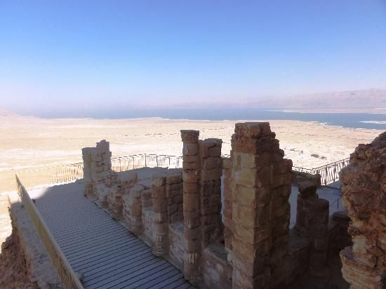 """*ISRAEL ~ MESADA: Colomns of the Palace, """"This Palace is 2000 yrs. Old.Masada in general is the place of the World Heritage site +Herod's Western Palace is a treasury of it. Hanged on the slope of the hill with wonderful location,beautiful wall paintings+ flr decoration.Must be seen."""