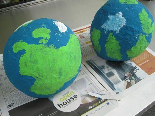 wereldbol van papier-maché