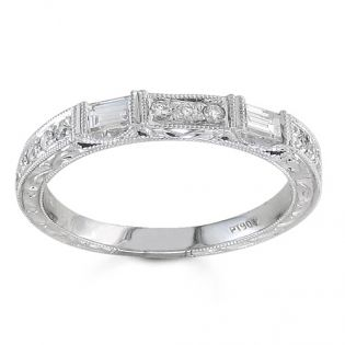 BF1358 - #23493  18 k, diamond wedding set 0.18 ct. rounds 0.20 ct. baguettes (Please call for pricing)