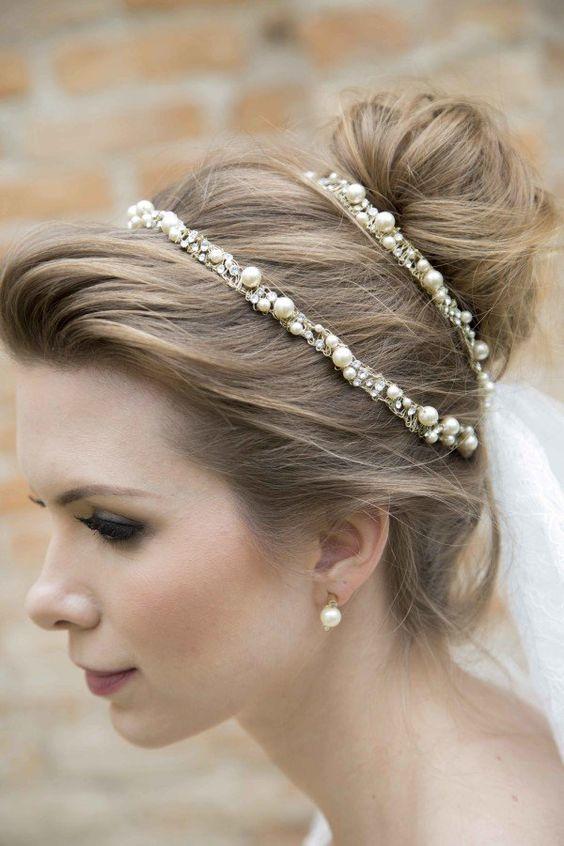 Penteado para noiva, acessório para cabelo Boho Chic da D. Cantidio: