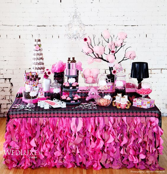 Pink dessert table. LOVE the cotton candy in the tree!: